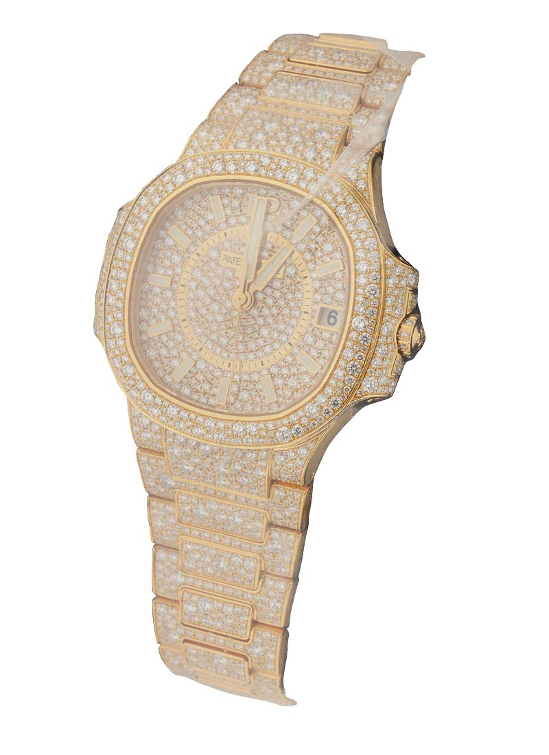 Patek Philippe 7021 Lady's Nautilus 33.6mm Automatic in Rose Gold with Full Diamond Bezel