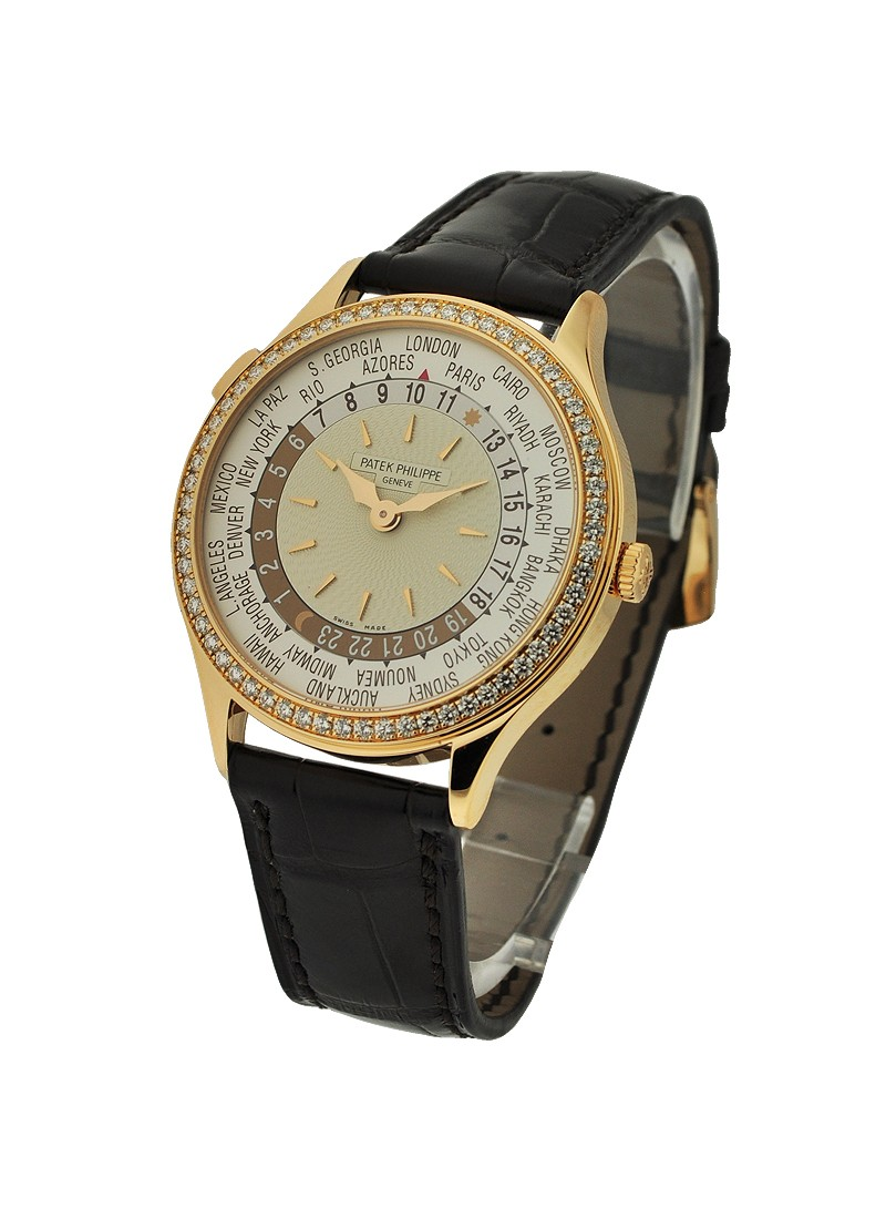 Patek Philippe 7130r  Ladys World Time  Rose Gold with Diamond Bezel