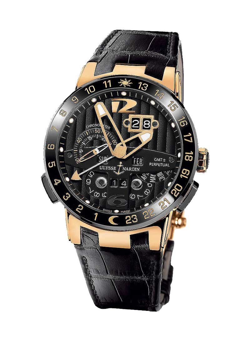Ulysse Nardin El Toro Perpetual Calendar Dual Time in Rose Gold with Ceramic Bezel