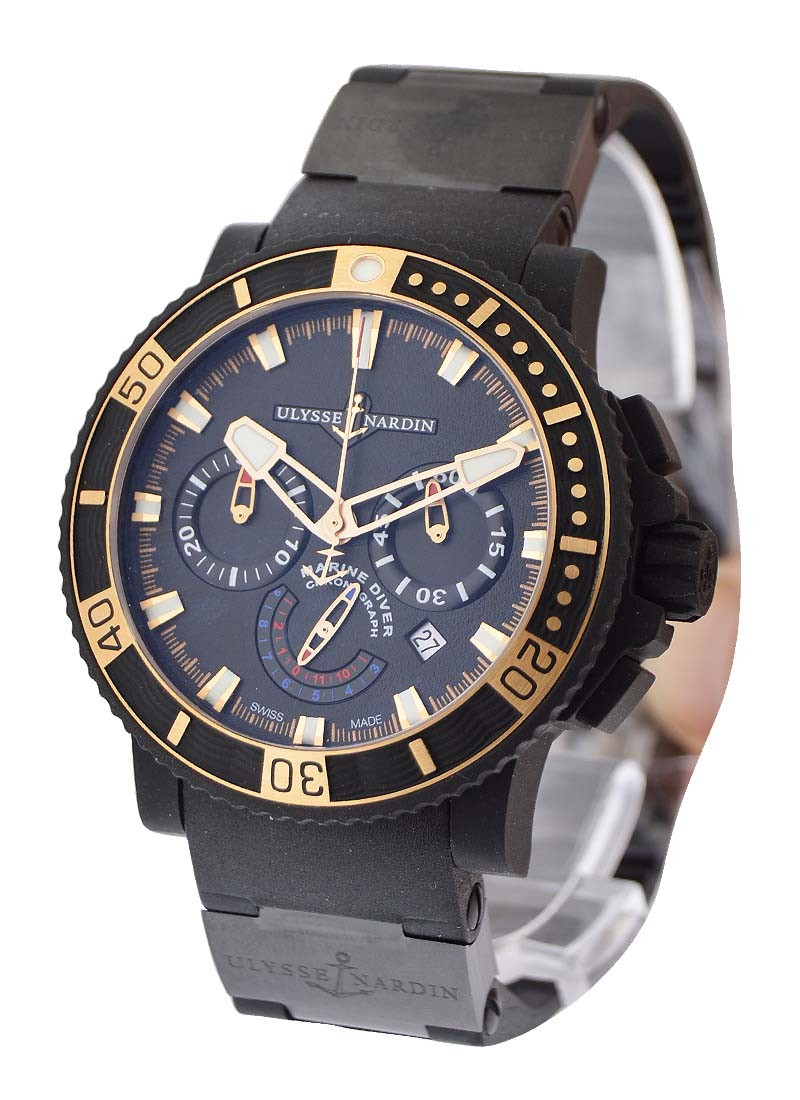 Ulysse Nardin Maxi Marine Diver Black Sea Chronograph in Rubber Clad Steel with Rose Gold Bezel