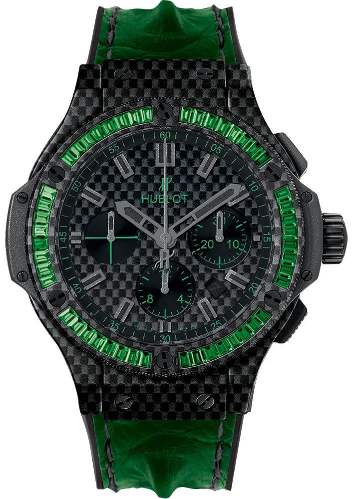 Hublot Big Bang 44mm in Black Carbon with Baguette Tsavorite Bezel