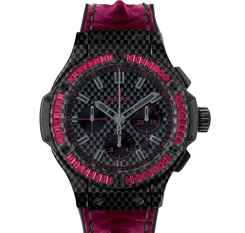 Hublot Big Bang 44mm in Black Carbon with Baguette Ruby Bezel