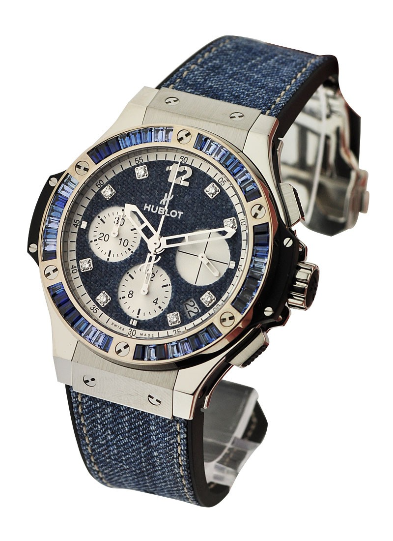 Hublot Big Bang 41mm Jeans Carat in Steel with White Gold Sapphire Bezel