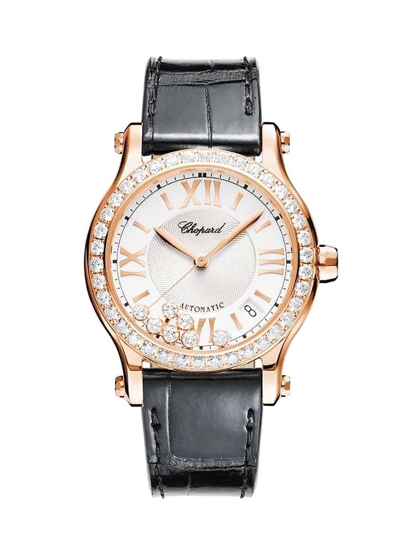 Chopard Happy Sport Medium in Rose Gold with Diamond Bezel