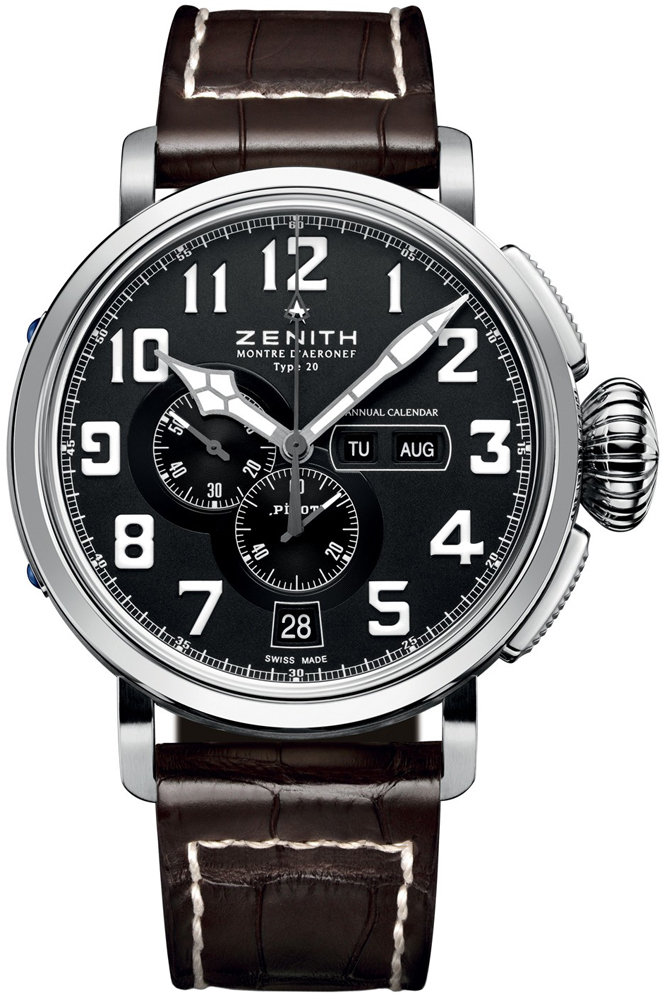Zenith Pilot Montre d'Aeronef Type 20 Annual Calendar in Stainless Steel