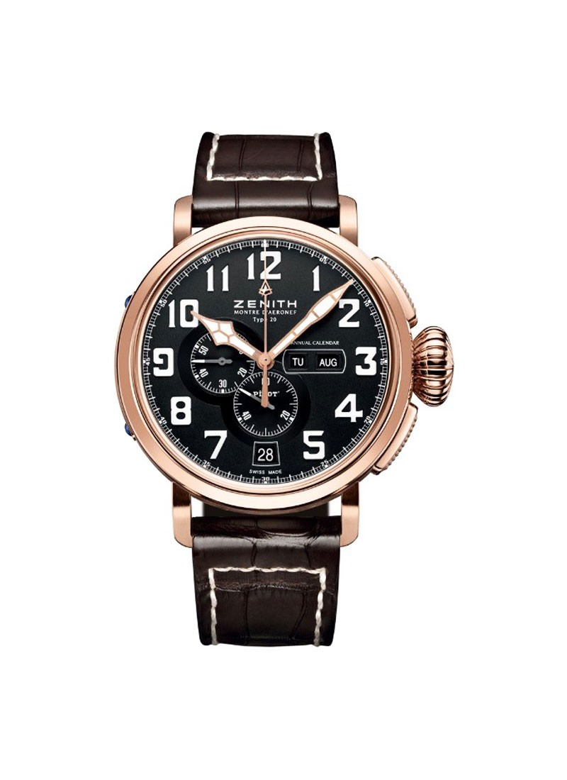 Zenith Pilot Montre d'Aeronef Type 20 Annual Calendar in Titanium with Rose Gold Bezel