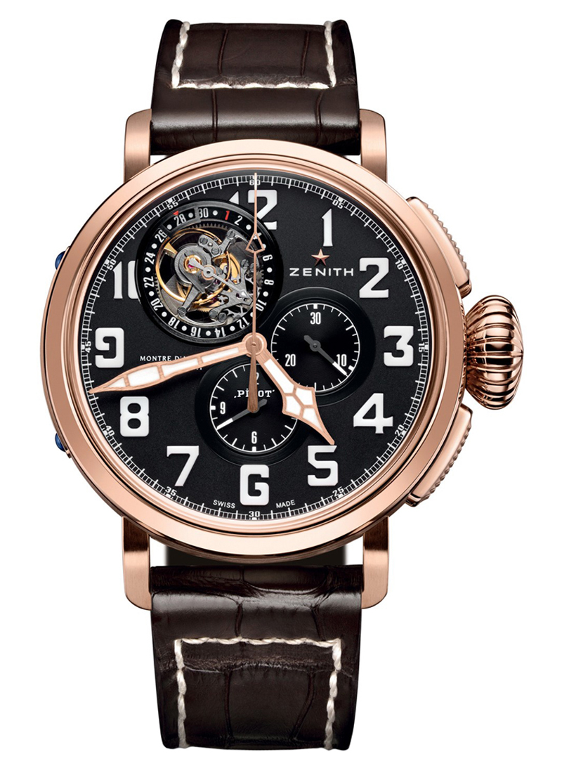 Zenith Pilot Montre d'Aeronef Type 20 Tourbillon in Rose Gold & Titanium