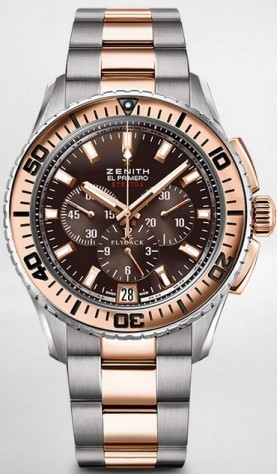 Zenith El Primero Stratos Flyback in Steel with Rose Gold Bezel