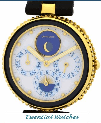 Gerald Genta Gelfica Day Date Moonphase Alarm GMT   Yellow Gold