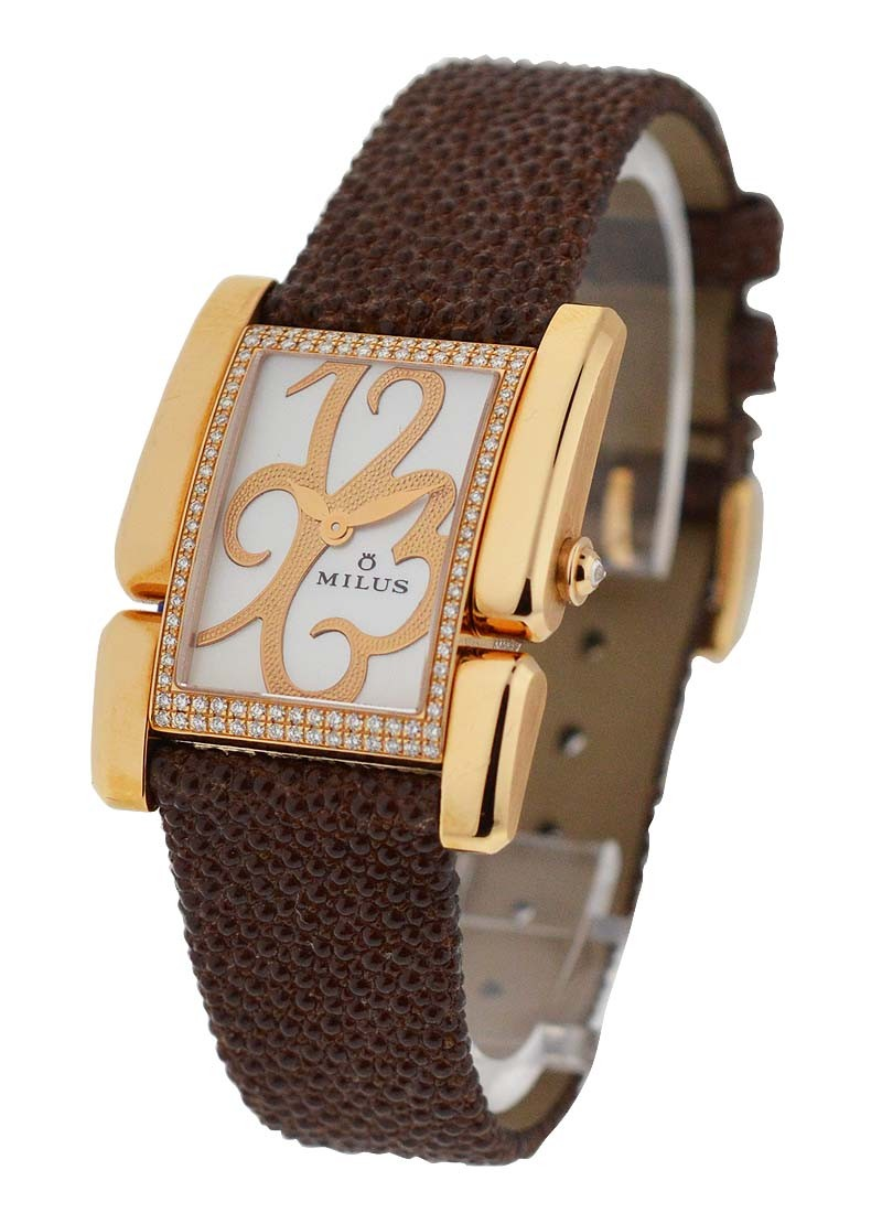 Milus Apiana Ladies in Rose Gold with Diamond Bezel