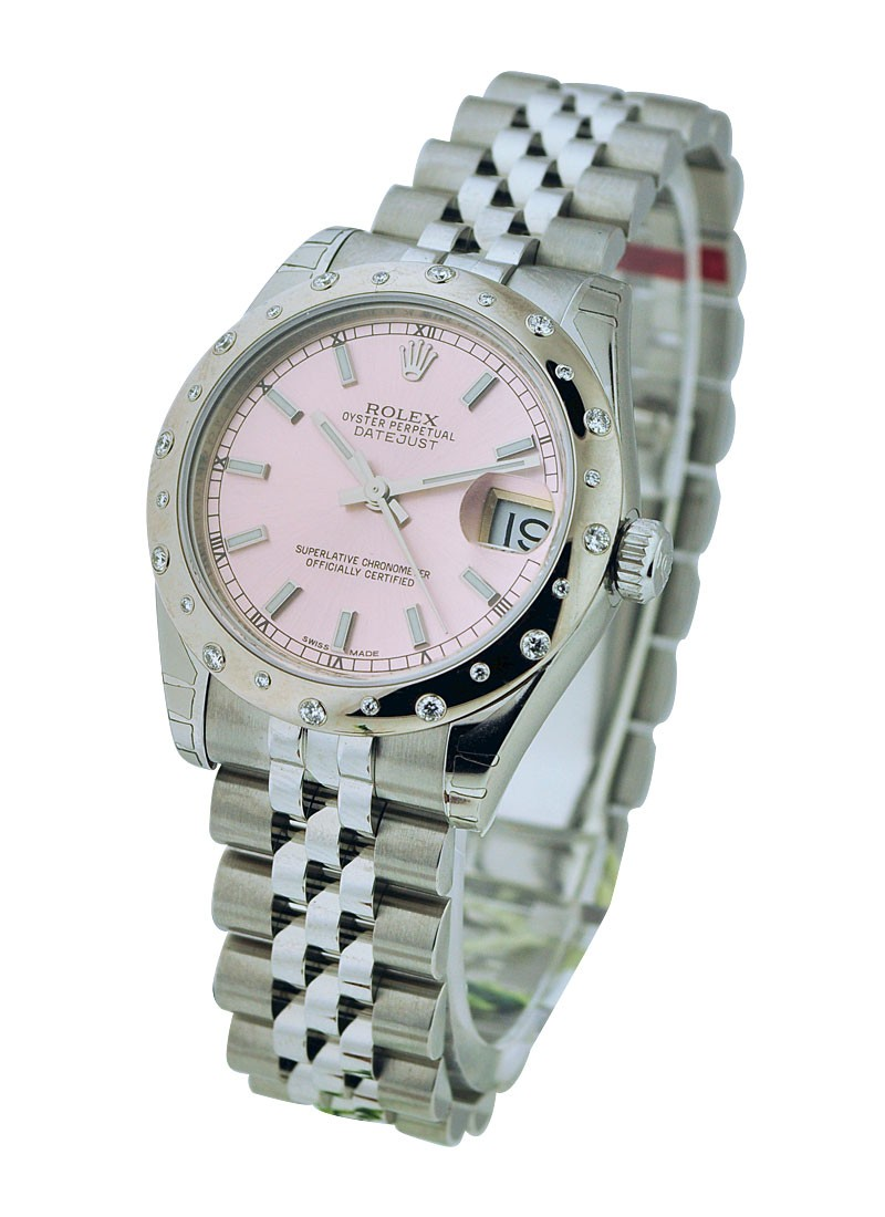 Rolex Unworn Mid Size 31mm Datejust with Domed Bezel Set with 24 Diamonds