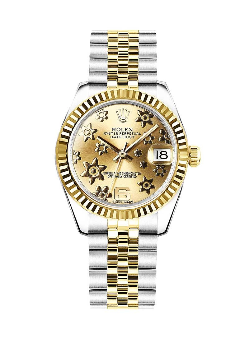 Rolex Unworn Datejust Midsize 2-Tone in Steel with Yellow Gold Fluted Bezel