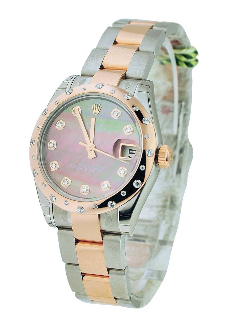 Rolex Unworn Datejust 31mm in Steel with Rose Gold Diamond Bezel