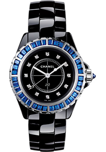 Chanel J12 33mm 38mm Quartz in Black Ceramic with Blue Sapphires Bezel