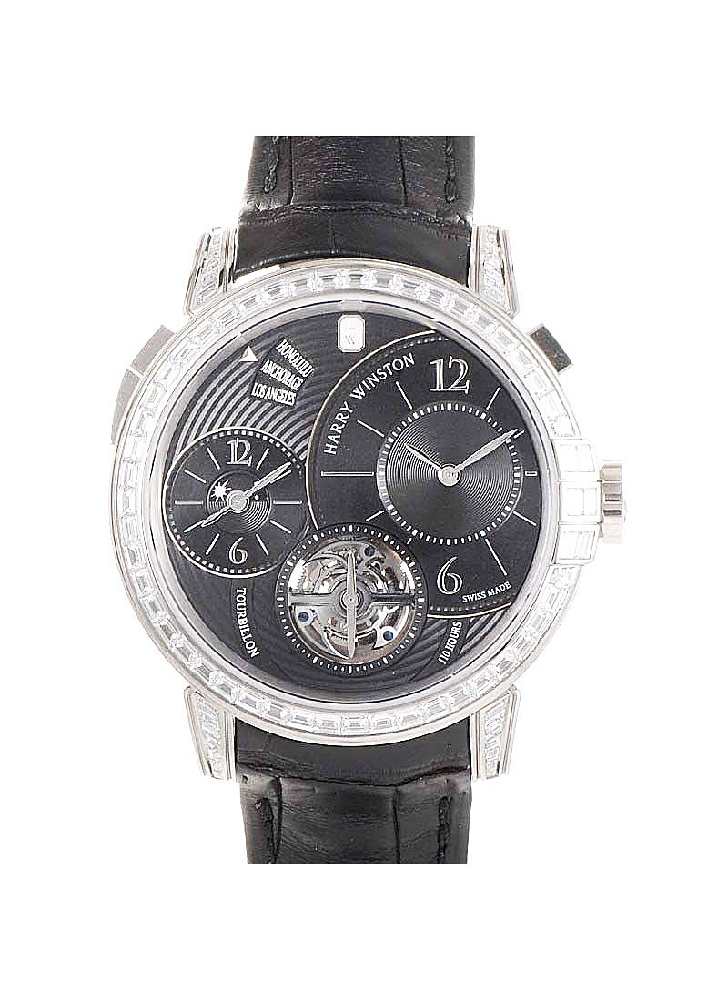 Harry Winston Midnight GMT Tourbillon   Baguette Diamond Bezel