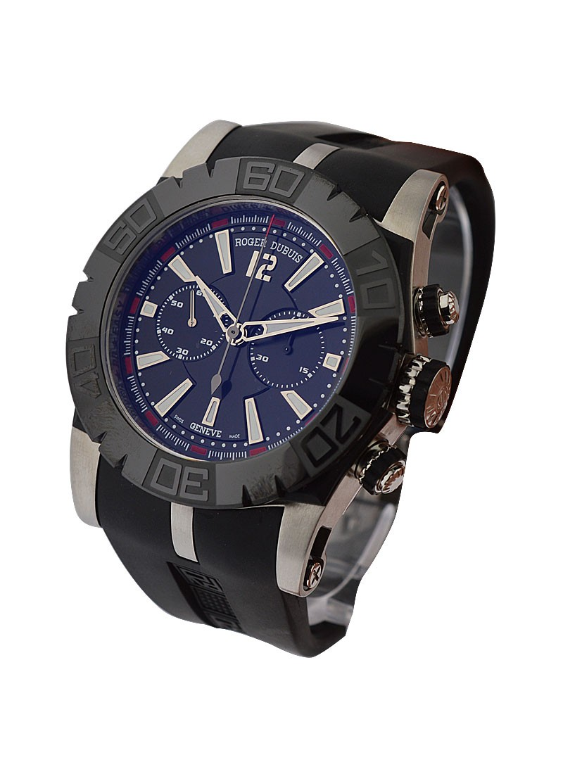 black with watches dubuis ceramic essential strap roger diver rubber chronograph on watch main steel easy bezel in dial