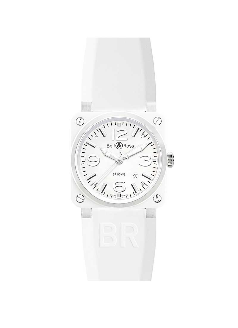 ce001ddce Bell & Ross BR03-92 Automatic in White Ceramic with Diamond Bezel