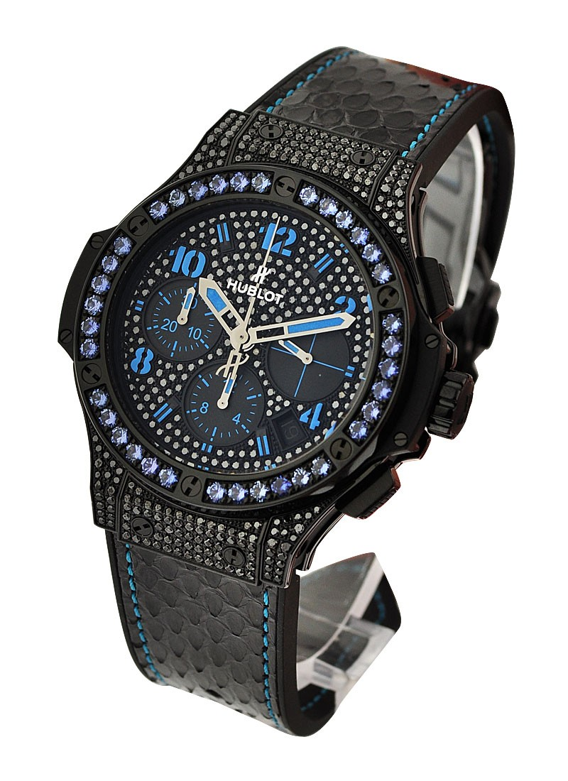 Hublot Big Bang Black Fluo Blue Automatic in Black PVD Steel  with Blue Sapphire Bezel