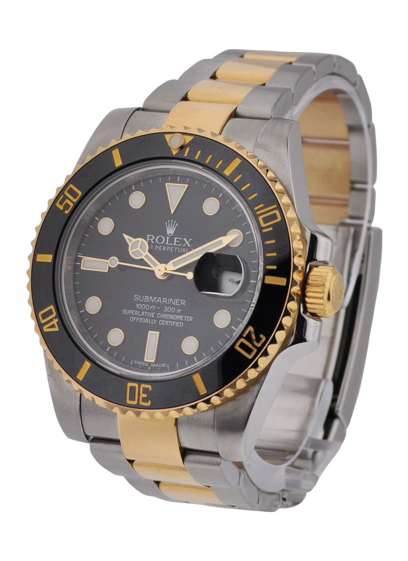 Rolex Used Submariner in Steel with Yellow Gold With Black Bezel