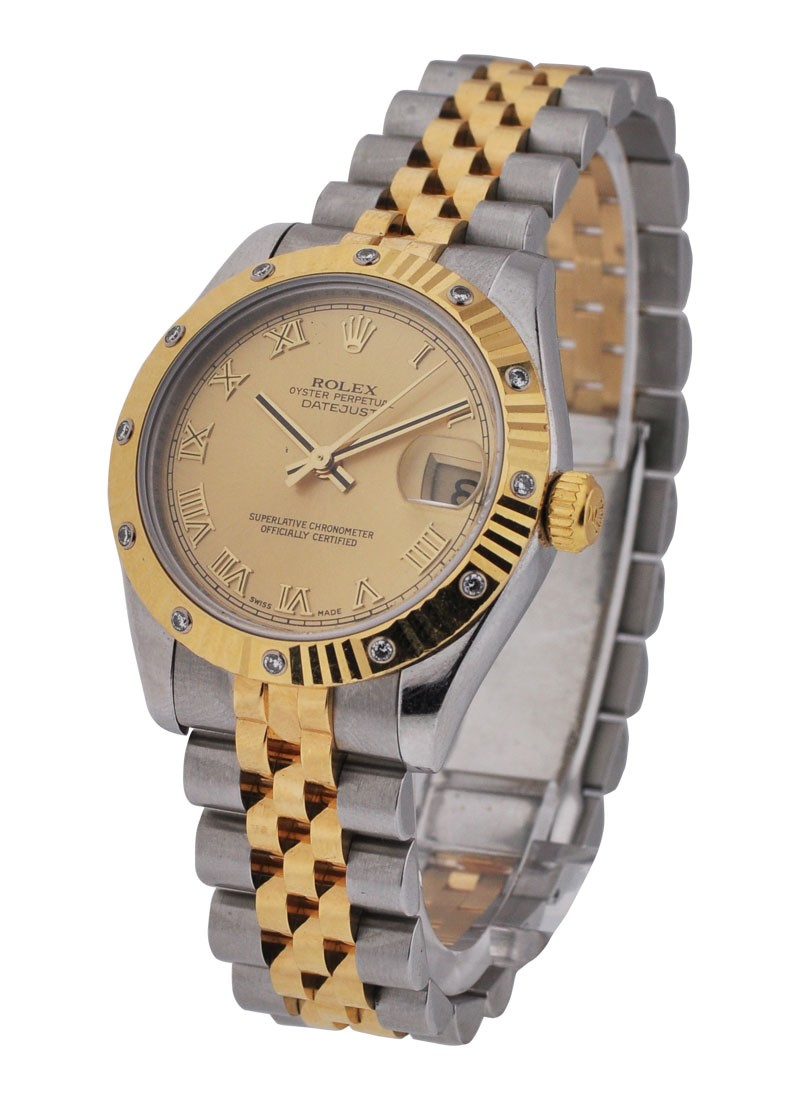 Rolex Used DateJust Two Tone with Fluted Diamond Bezel