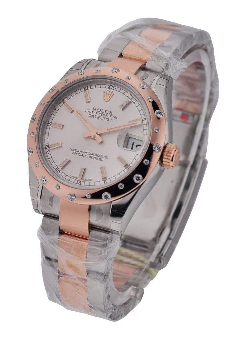 Rolex Unworn Datejust in Steel with Rose Gold Diamond Bezel
