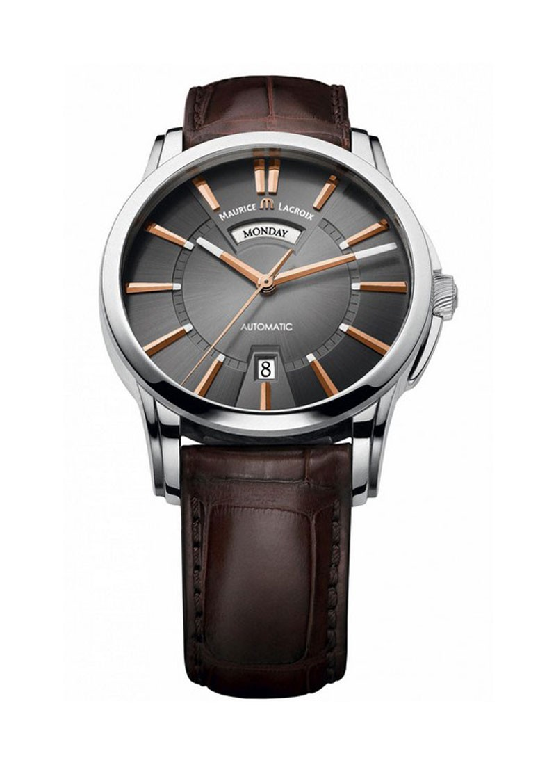 Maurice Lacroix Pontos Day Date in Steel on Brown Leather Strap