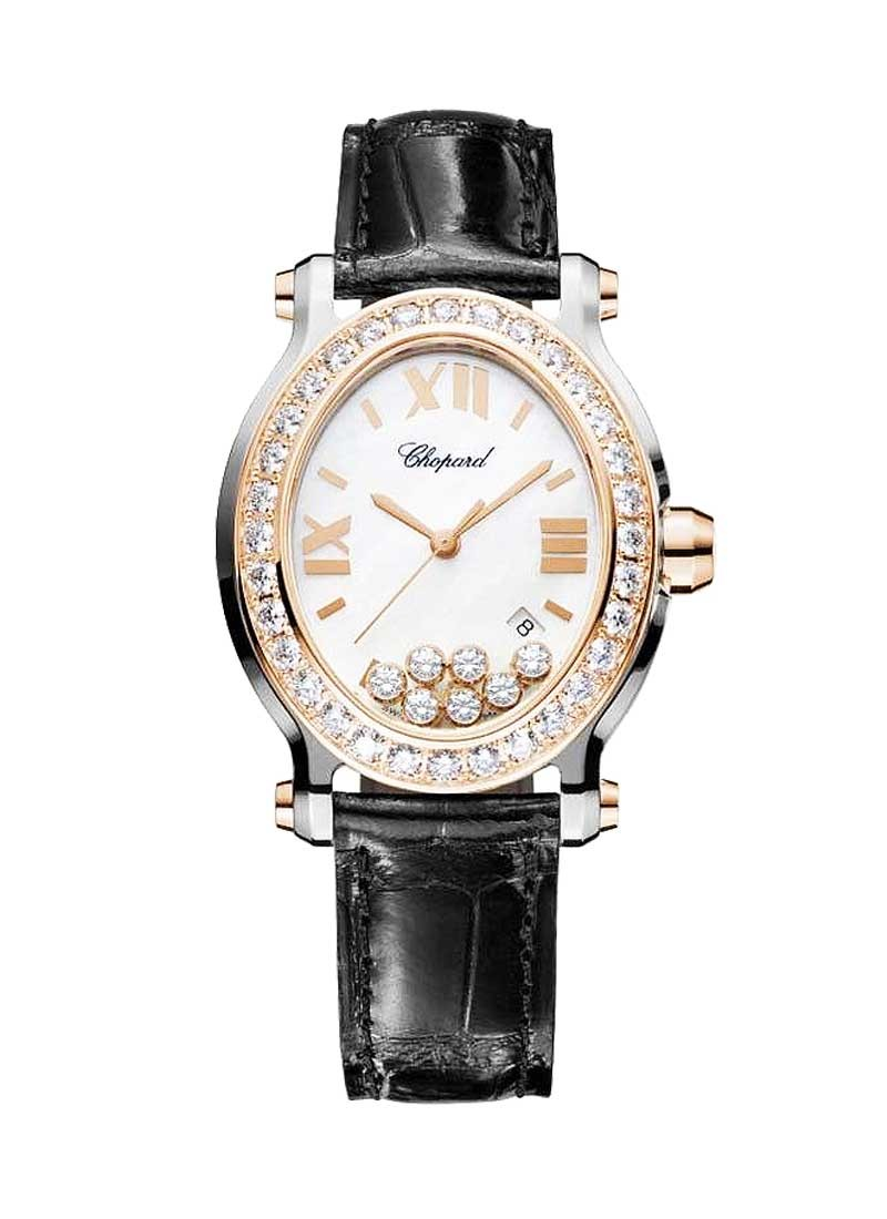 Chopard Happy Sport Oval - Men's Quartz in Steel with Rose Gold Diamond Bezel