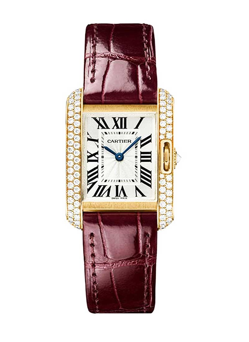 Cartier Tank Anglaise Small with Diamond Bezel in Rose Gold