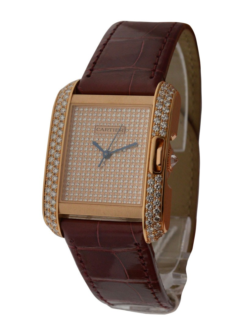 Cartier Tank Anglaise Medium with Diamond Bezel in Rose Gold