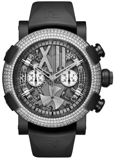 Romain Jerome Steampunk Metal Chronograph in Steel with Diamond Bezel