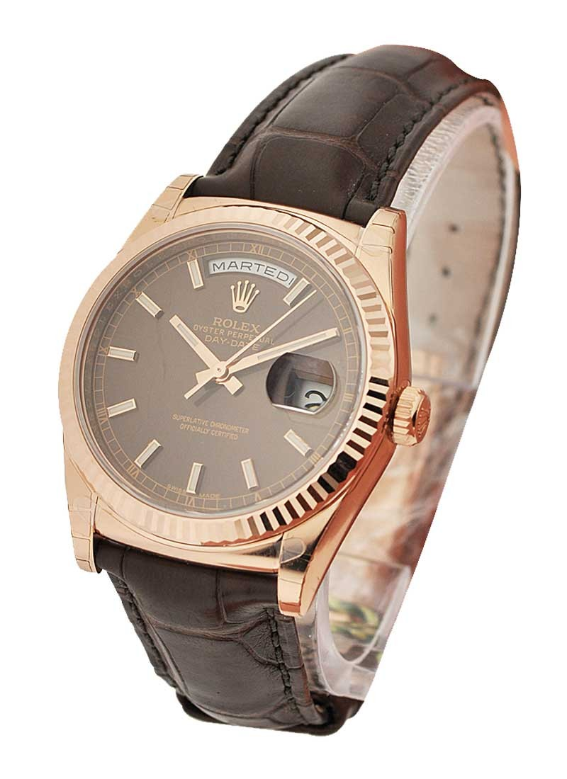 Day Date President In Rose Gold With Fluted Bezel