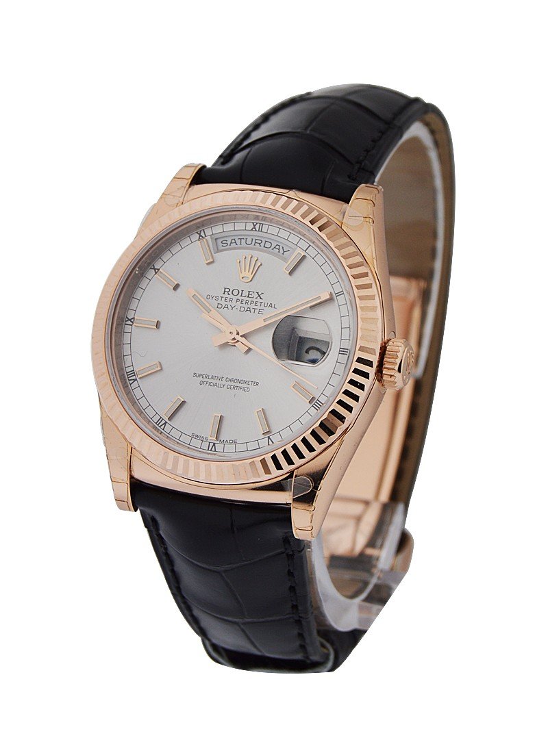 Rolex Unworn Day Date 36mm  in Rose Gold on Strap