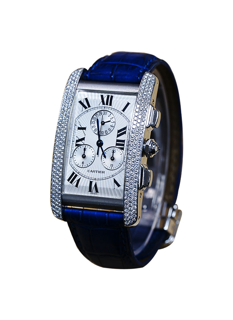 Cartier Tank Americaine Cronoflex Chronograph in White Gold - Factory 3 Bar Diamond Case