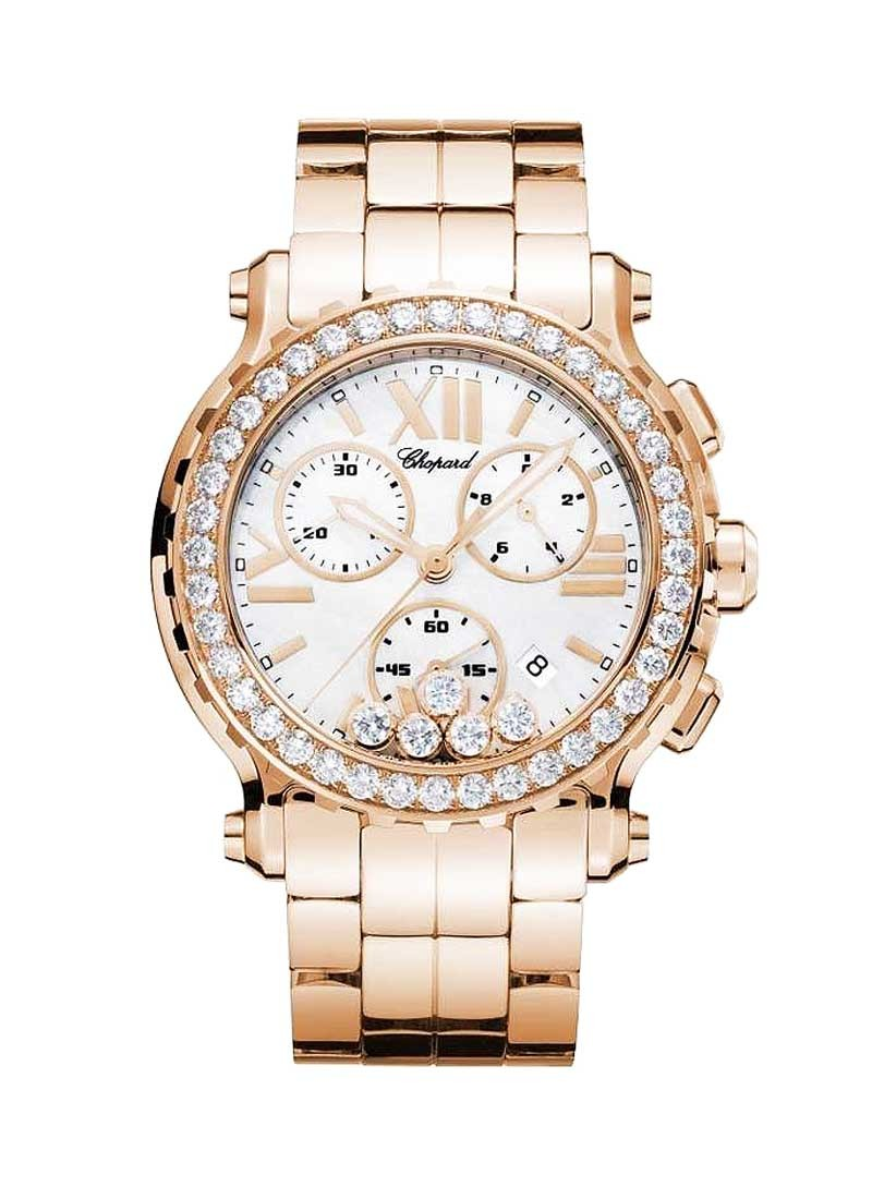 Chopard Happy Sport Round Chronograph in Rose Gold with Diamond Bezel