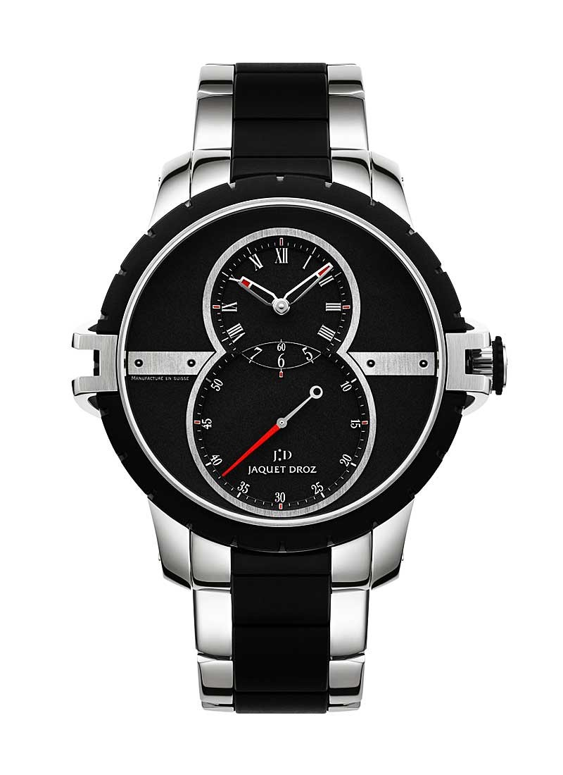 Jaquet Droz Grande Seconde Mens Automatic in Steel with Black Rubber Bezel