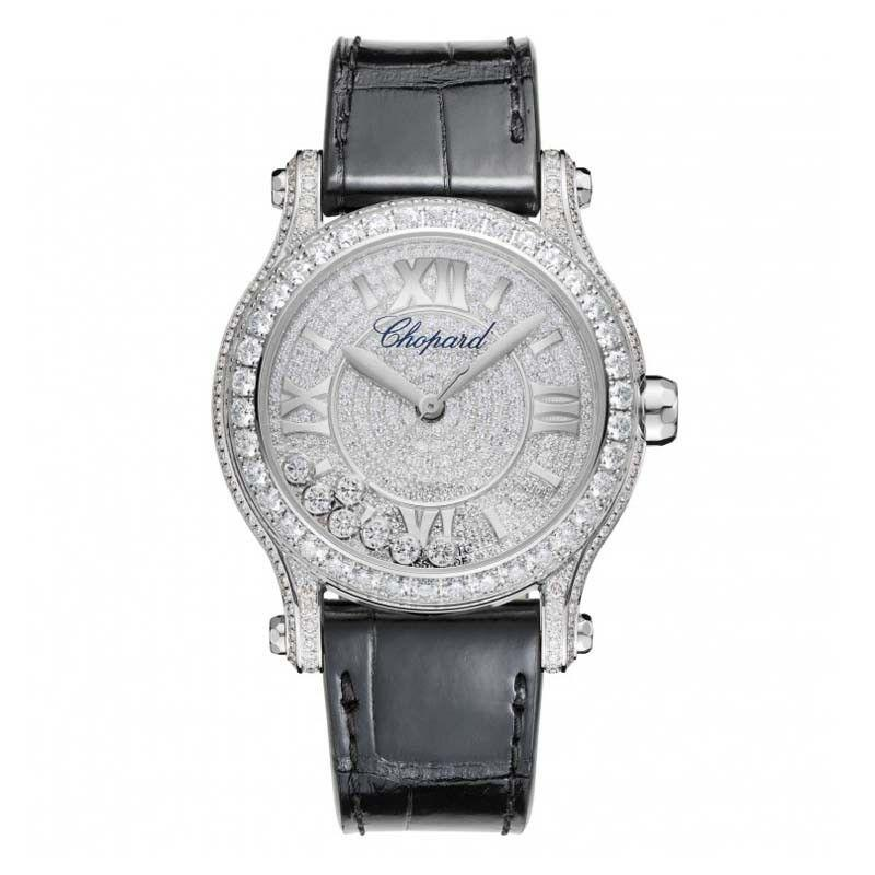Chopard Happy Sport Medium in White Gold with Diamond Bezel