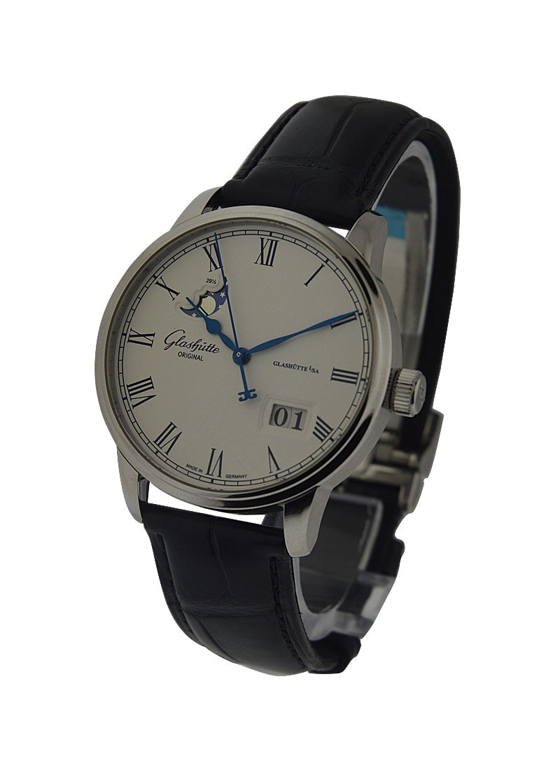 Glashutte Senator Panorama Date Moonphase  in Steel