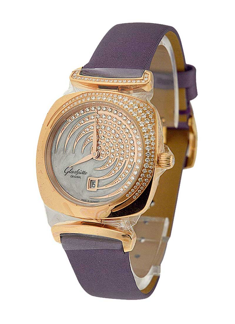 Glashutte Pavonina Ladies 31m in Rose Gold with Partial Diamond Bezel