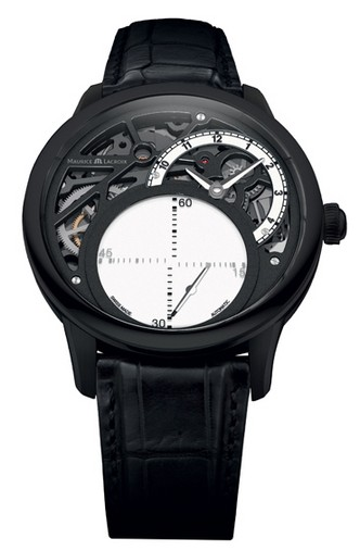 Maurice Lacroix Masterpiece Seconde Mysterieuse Mens   Black PVD Steel