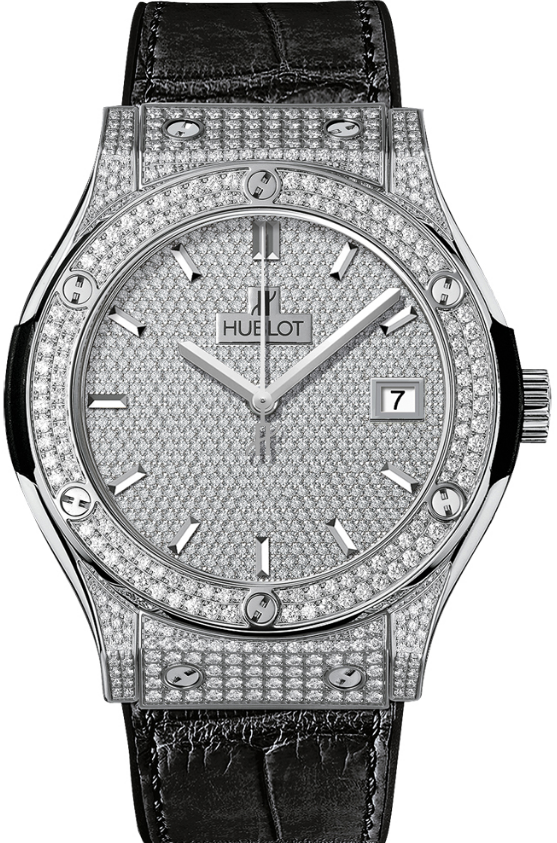 Hublot Classic Fusion 45mm  Automatic in White Gold   Diamonds