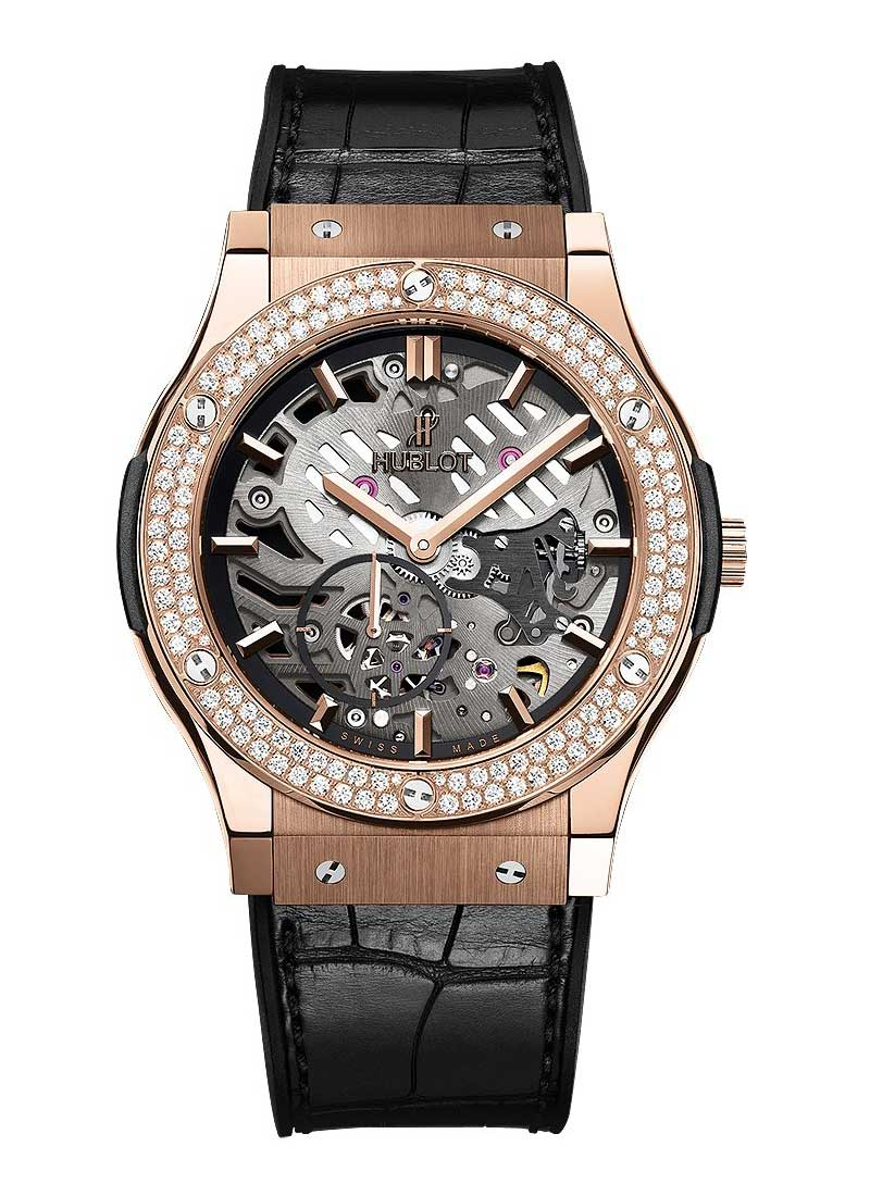 Hublot Classic Fusion 45mm Ultra Thin in Rose Gold with Diamond Bezel