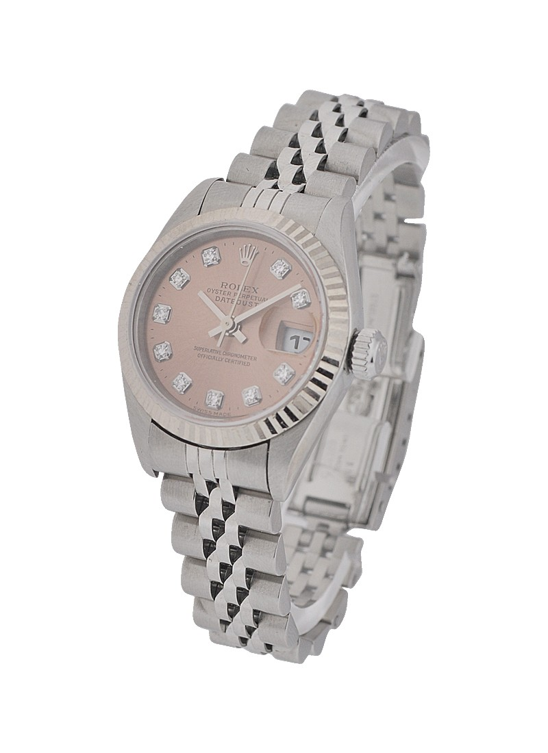 Rolex Used Lady's Datejust in Steel with White Gold Fluted Bezel