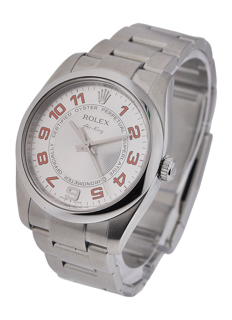 Pre-Owned Rolex New Style Air King in Steel with Smooth Bezel