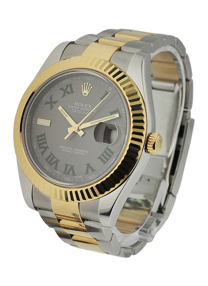 Pre-Owned Rolex Datejust II 41mm in Steel with Yellow Gold Fluted Bezel