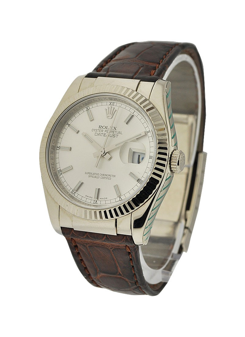 Rolex Used Datejust in White Gold with Fluted Bezel