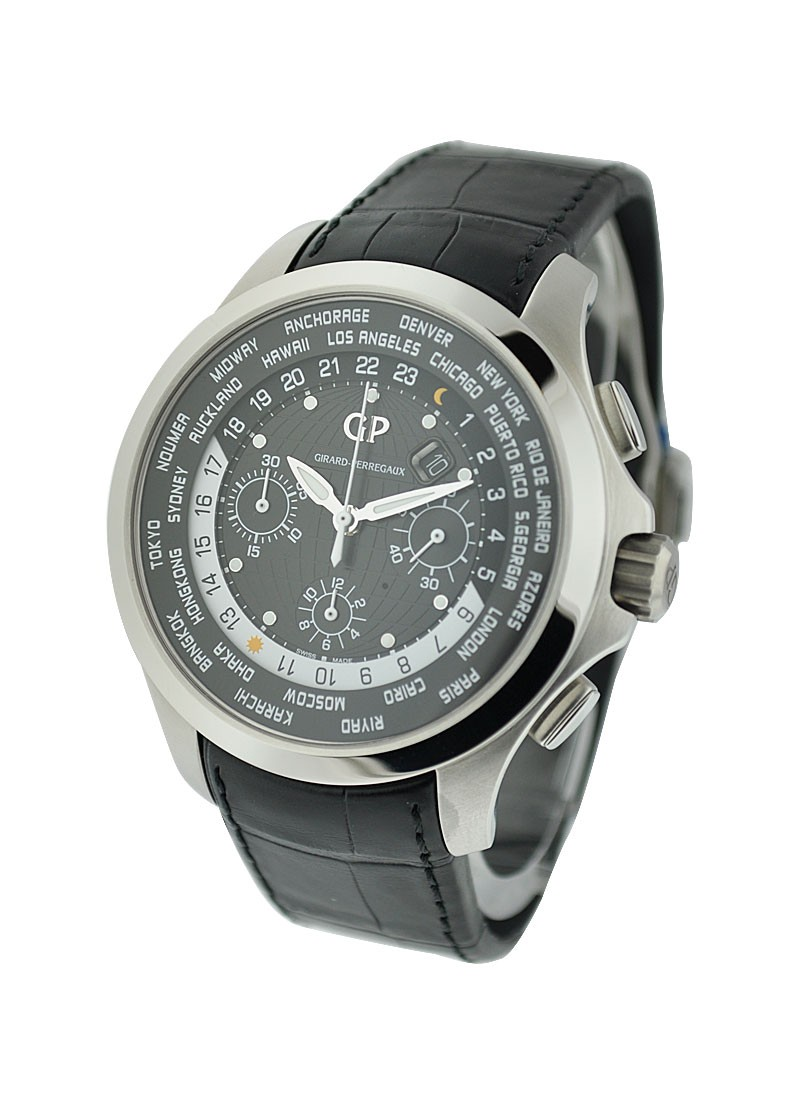 Girard Perregaux World Time Chronograph Traveller Mens Automatic   Steel