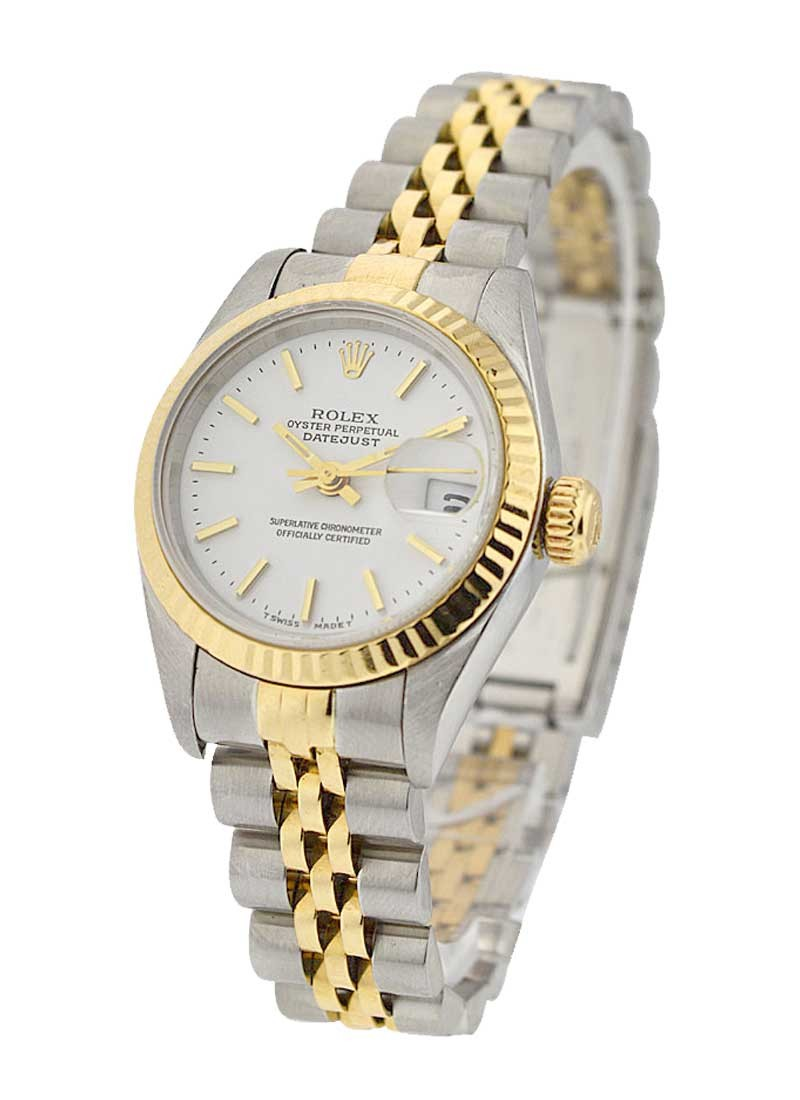 Rolex Used Datejust 26mm Automatic in Steel with Yellow Gold Fluted Bezel
