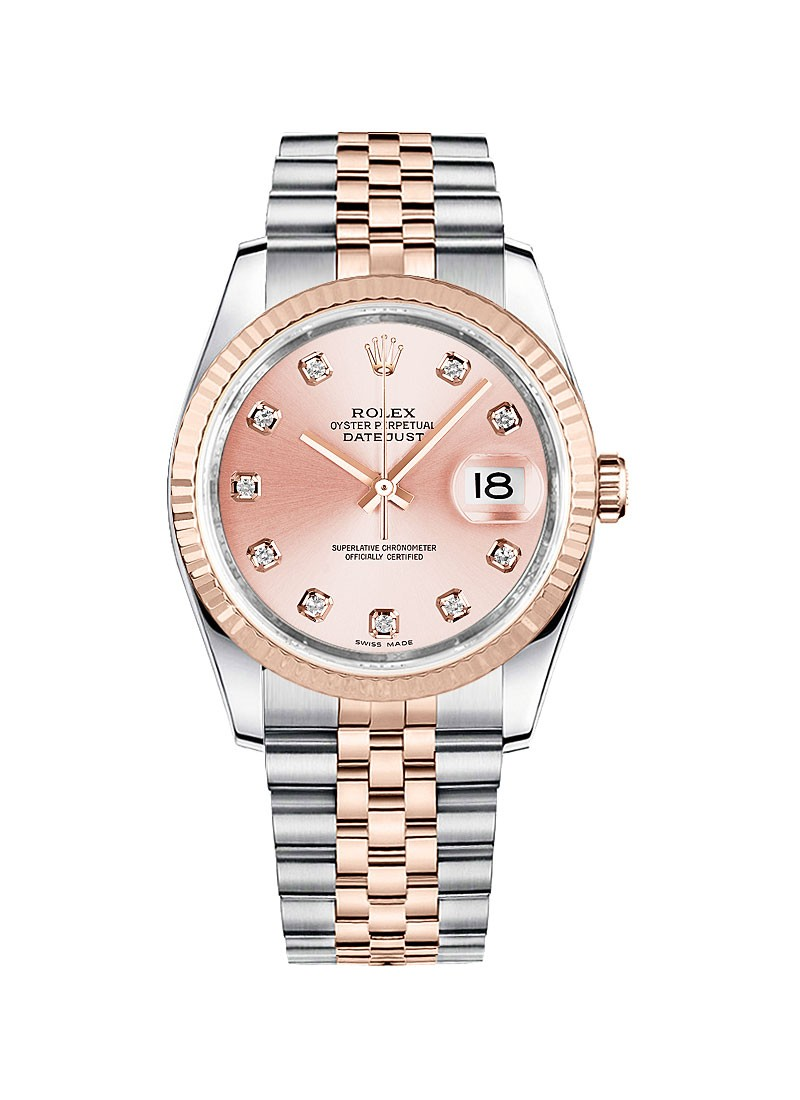 Rolex Unworn Datejust 36mm in Steel with Rose Gold Fluted Bezel