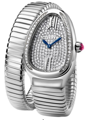 Bvlgari Serpenti Ladies 35mm Quartz   White Gold  Diamond Bezel