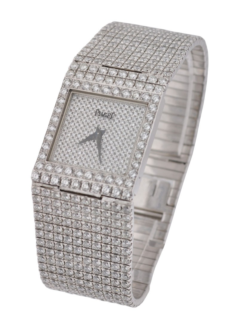Piaget Polo Square White Gold with Full Pave
